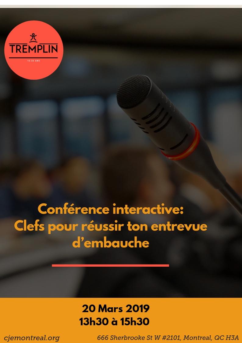 Image Conférence: Clefs pour réussir ton entrevue d'embauche